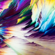 Benzoic acid crystals in polarized light - Stock Photo