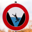 Round hazard sign warning for danger of drowning - Stock Photo