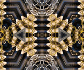 Kaleidoscopic metal pipe assembly techno pattern — Stock Photo