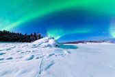 Intense display of Northern Lights Aurora borealis — Stok fotoğraf