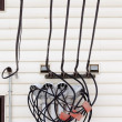 Incoming electricity junction of wires on wall — Stock Photo