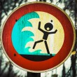 Screaming person flashflood tsunami warning sign — Stock Photo