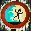 Screaming person flashflood tsunami warning sign — Stock Photo #22352409