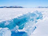 Icy pressure ridge in Lake Laberge Yukon T Canada — Stock Photo