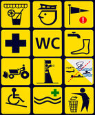 Firmar con 12 iconos instrucional para playa pública — Foto de Stock