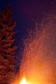 Forest fire danger hot spark trails from campfire — Stock Photo