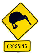 NZ Attention Kiwi Crossing Road Sign on White — Stock Photo