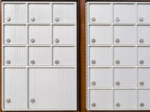 Locker rows of rural Canada Post metal mail box — Stock Photo