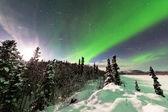 Affichage intense des aurores boréales, aurores boréales — Photo
