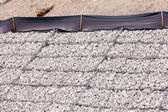 Gravel wire mesh bank revetment erosion control — Stock Photo