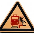 Stock Photo: Railway station warning sign dangerous trains