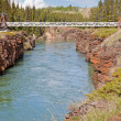 Stock Photo: Swing bridge across Miles Canyon of Yukon River