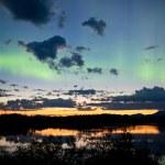 Midnight summer Northern lights Aurora borealis — Stock Photo