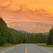 Liard River valley Alaska Highway BC Canada sunset — Stock Photo