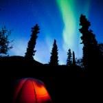 Orange taiga tent glow under northern lights flare — Stock Photo #35996393