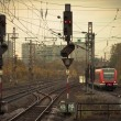 Mobile photography tone red train on railway track — Stock Photo