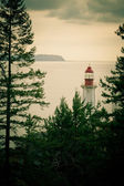Lo-fi photography lighthouse green BC coast Canada — Stock Photo