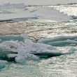 Stock Photo: Flowing open river water jammed ice floes abstract