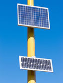 Photovoltaic solar cells turn sun electric energy — Foto Stock