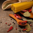 Pasta and cooking ingredients — Stock Photo