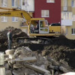 Stock Video: Digging excavator