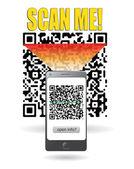 Smartphone scanning QR code — Stock Vector