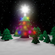 Christmas tree in forest — Stock Photo