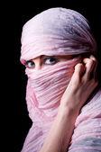 Woman in pink hijab — Stock Photo