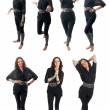 Seven poses set of curly brunette girl — Stock Photo