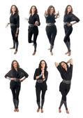 Seven poses set of curly brunette girl — Stock Photo