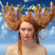 Stock Photo: Girl drying red hairs