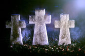 Three tomb crosses — Foto Stock