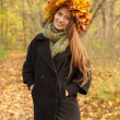 Stock Photo: Girl in yellow leaves crown