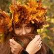 Girl in yellow leaves crown — Stock Photo