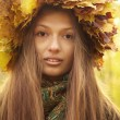 Girl in yellow leaves crown — Stock Photo #33736255