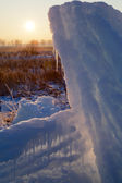 Icicles at sunset light — Stock Photo