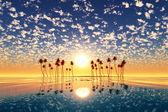 Gold sunset above tropic island — Stock Photo
