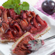 Cake with damson plums (Prunus insititia) — Stock Photo