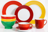 Multi Colored tableware — Stock Photo