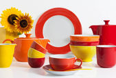 Multi colored Dishware — Stock Photo