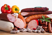 Assortiment of sausages — Stock Photo