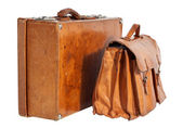 Business Traveled Vintage Suitcase and Briefcase — Stock Photo