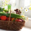 Stock Photo: Raw vegetables in wicker basket