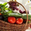 Raw vegetables in wicker basket — Stock Photo #26610261
