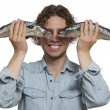 Young men covering eyes with Fish Eye — Stock Photo