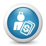 vector blauwe glanzende pictogram van medische kosten — Stockvector