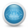 Vector blue glossy icon depicting Vienna — Stock Vector