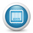 Vector blue glossy icon depicting barcode — Stock Vector #21983813