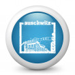 Vector blue glossy icon depicting Auschwitz stamp - Stock Vector