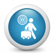 Royalty-Free Stock Vector Image: Icon depicting a tourists walking with suitcase